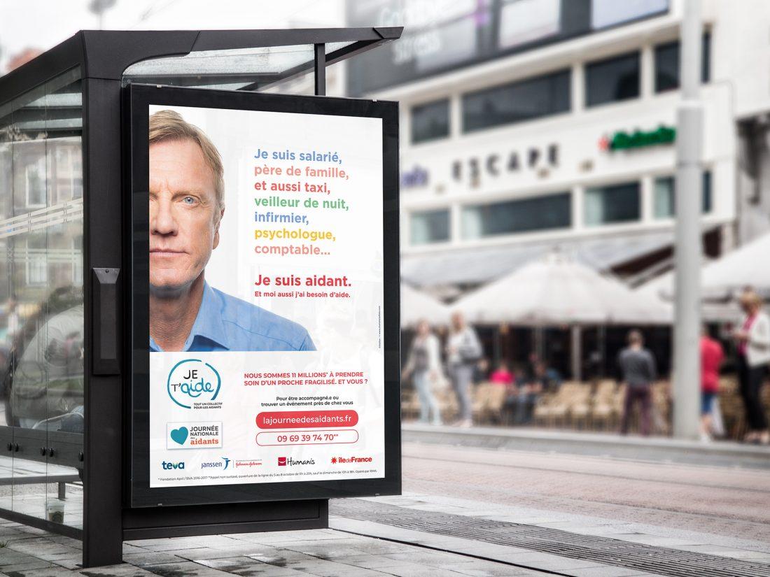 Affiche abri-bus. Campagne de communication pour Collectif Je t'aide. 2018