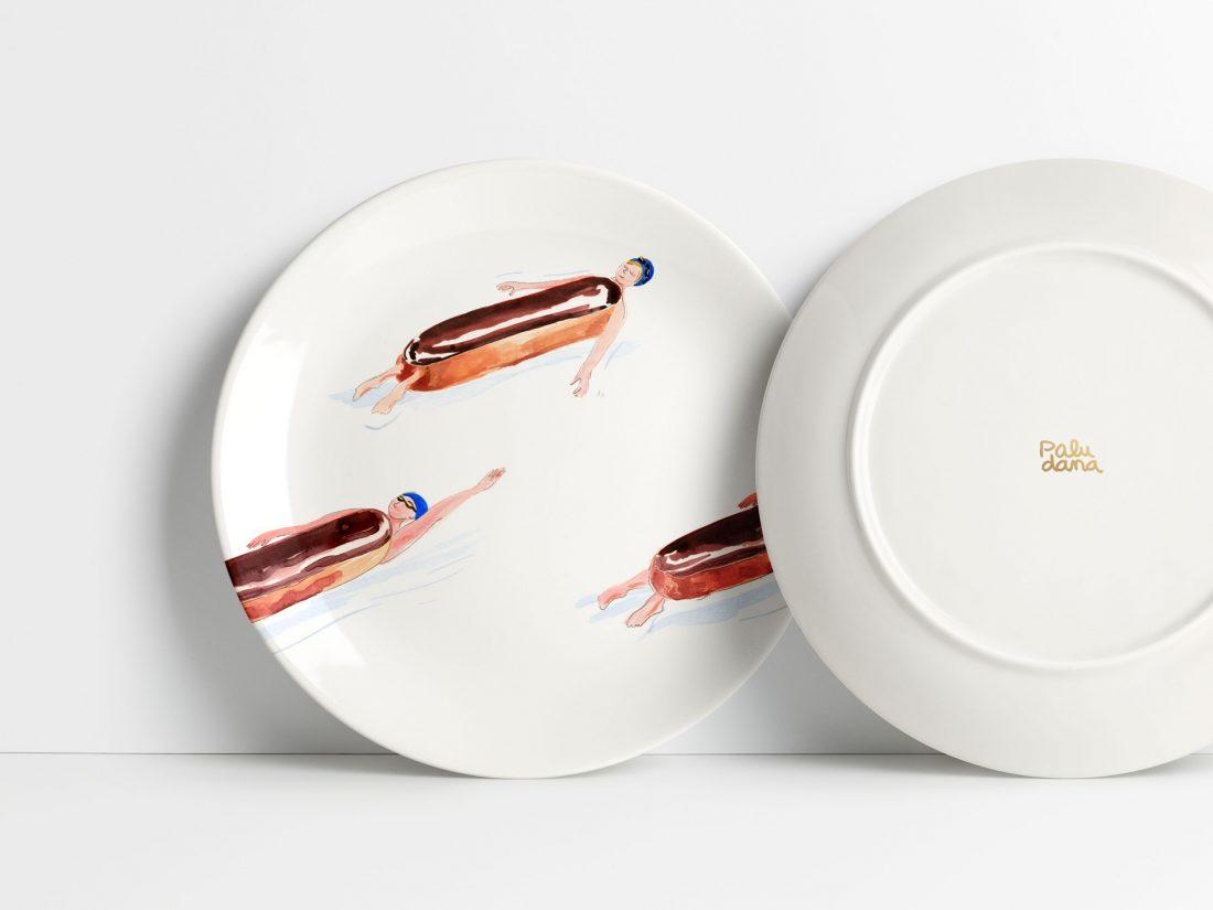 """Assiettes café marinette au motifs """"Éclairs au chocolat"""" illustrées par Paludana"""